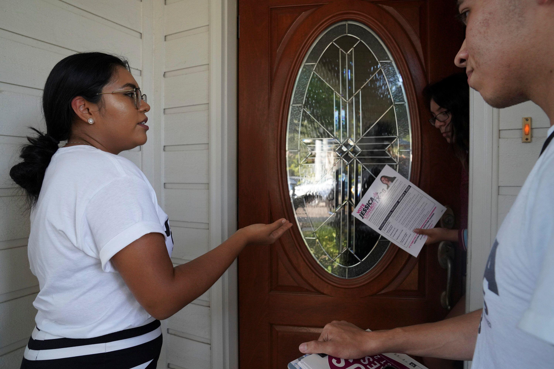 Democrat Jessica Cisneros campaigns for a House seat in Laredo, Texas.