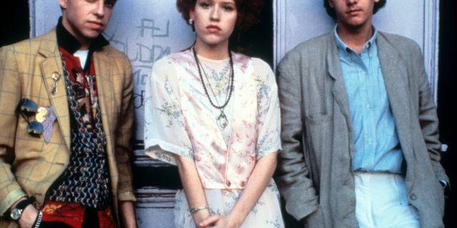 Jon Cryer, Molly Ringwald and Andrew McCarthy on set of the film 'Pretty In Pink', 1986.