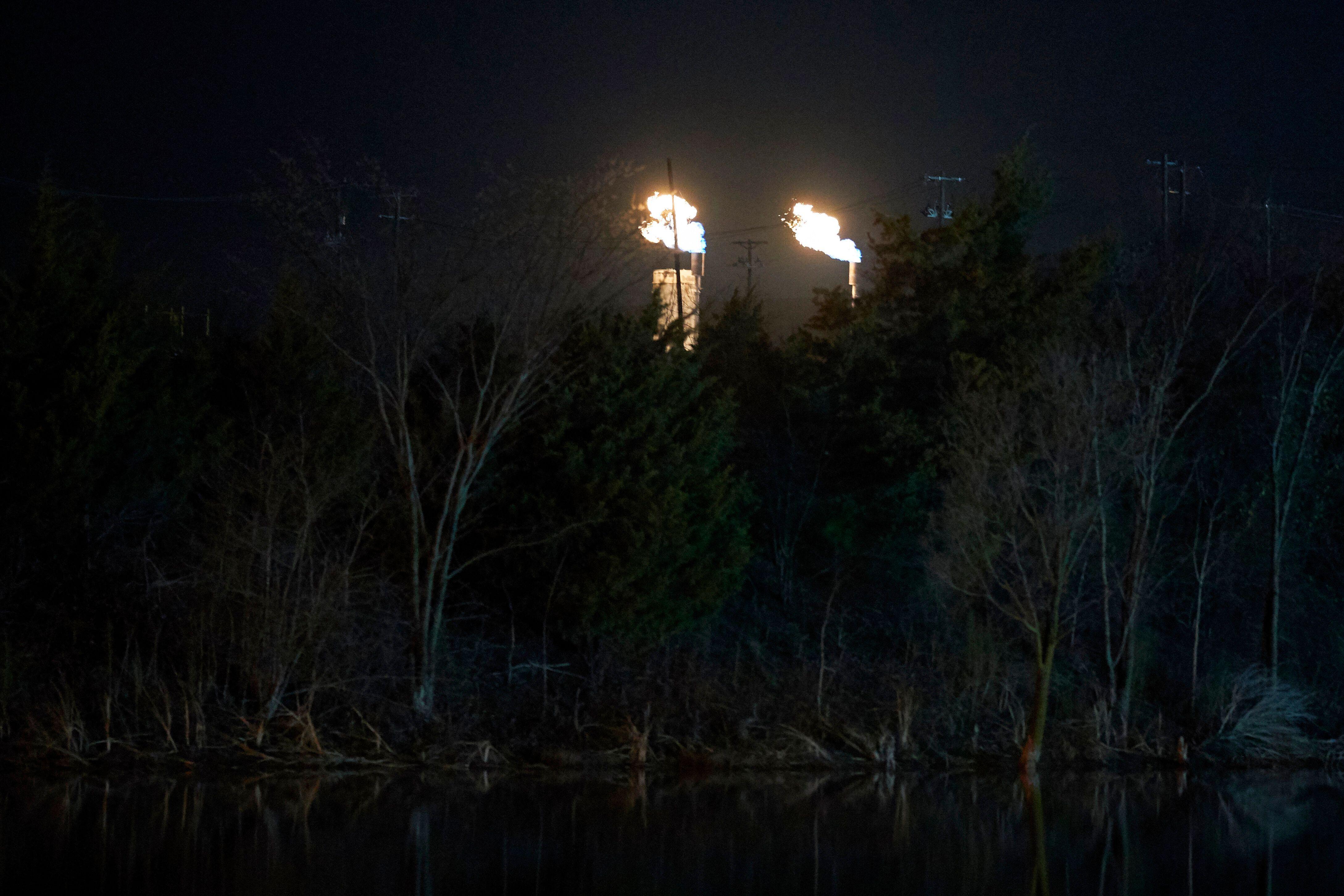 Flaring near Dallas, Texas on Feb. 12, 2020.
