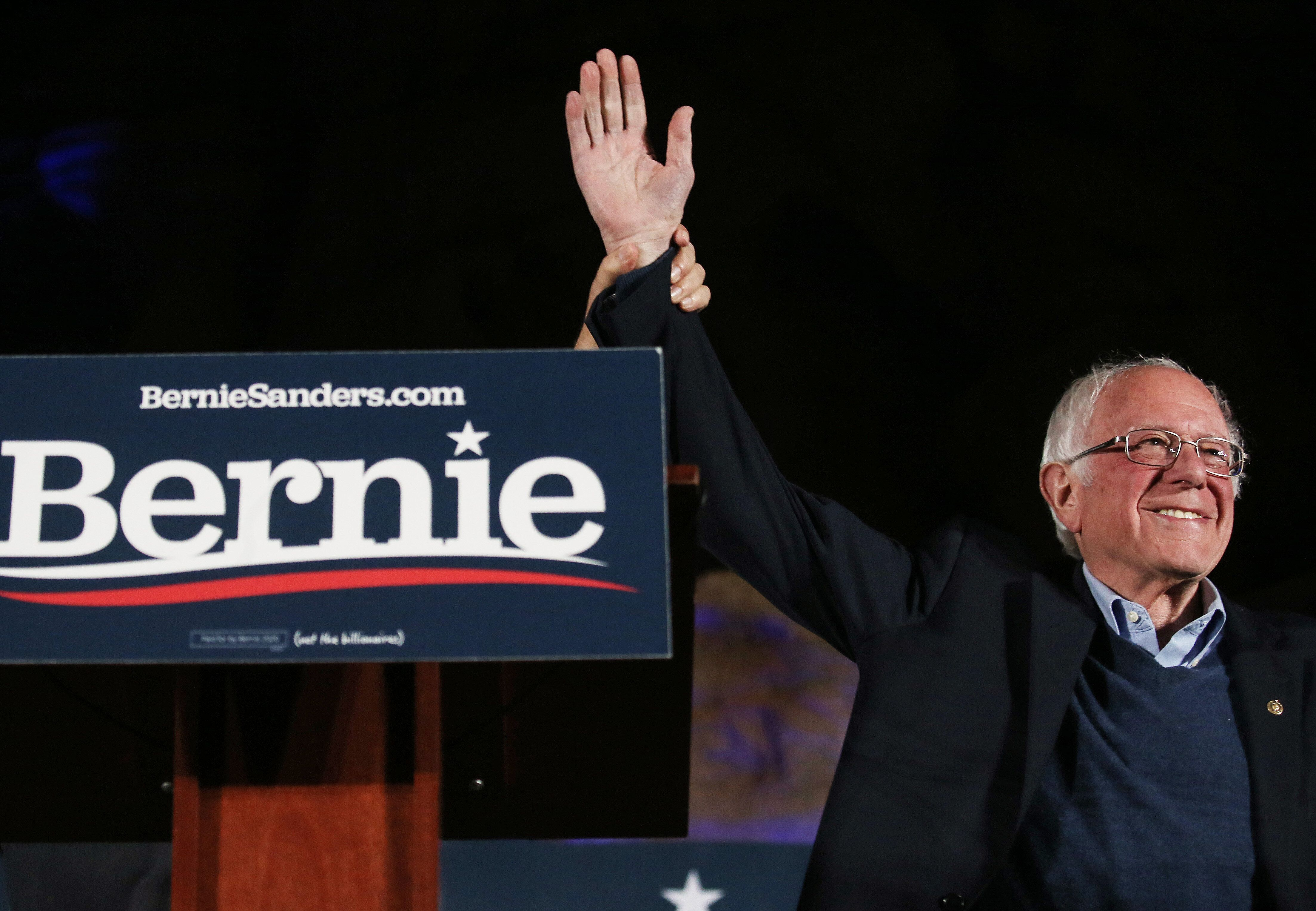 Sen. Bernie Sanders (I-Vt.) waves to supporters at a campaign rally on Feb. 21, 2020, in Las Vegas.