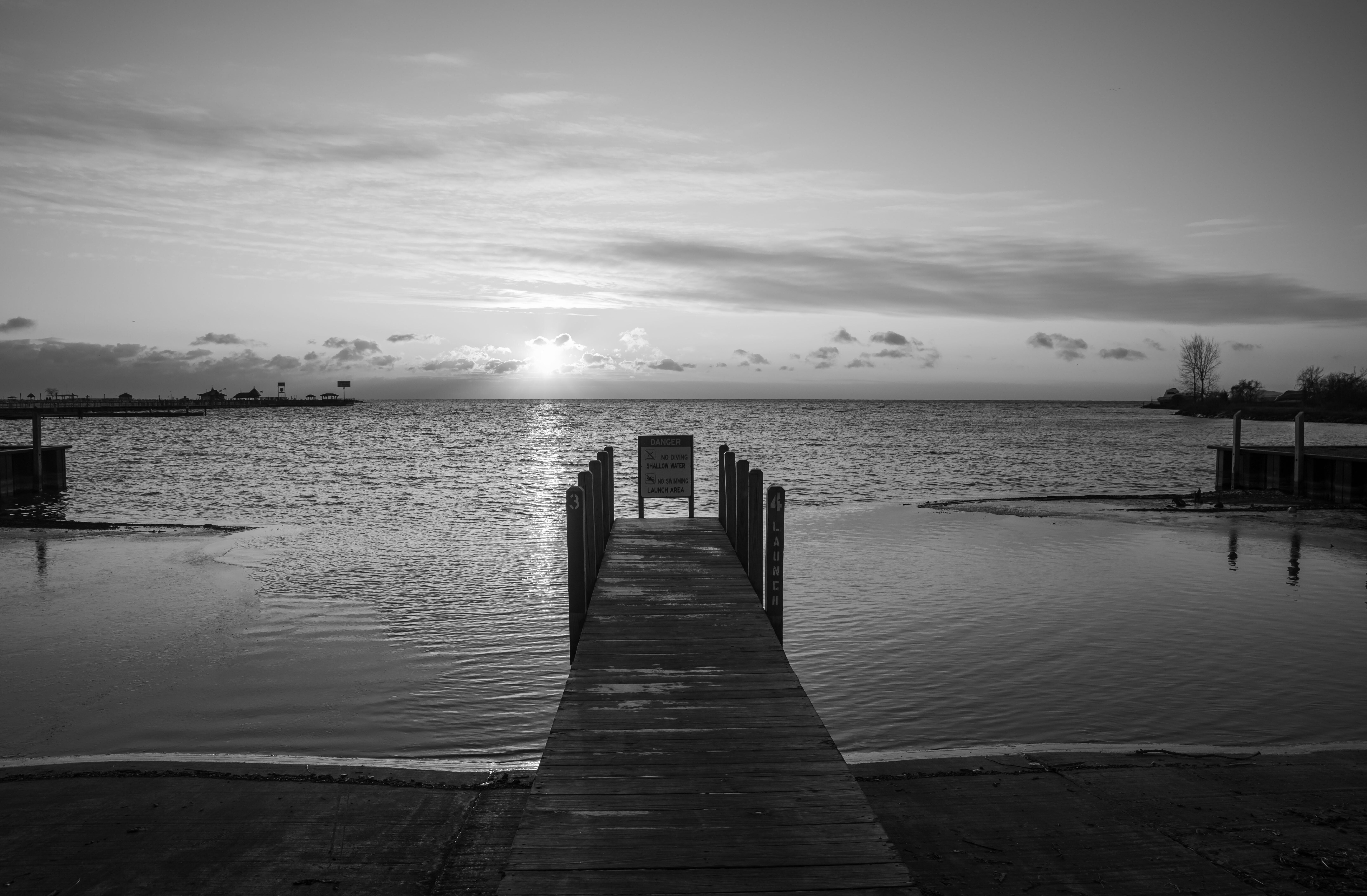 A dock on Lake St. Clair, often considered the sixth Great Lake, in Harrison Charter Township, Michigan. In winters with good
