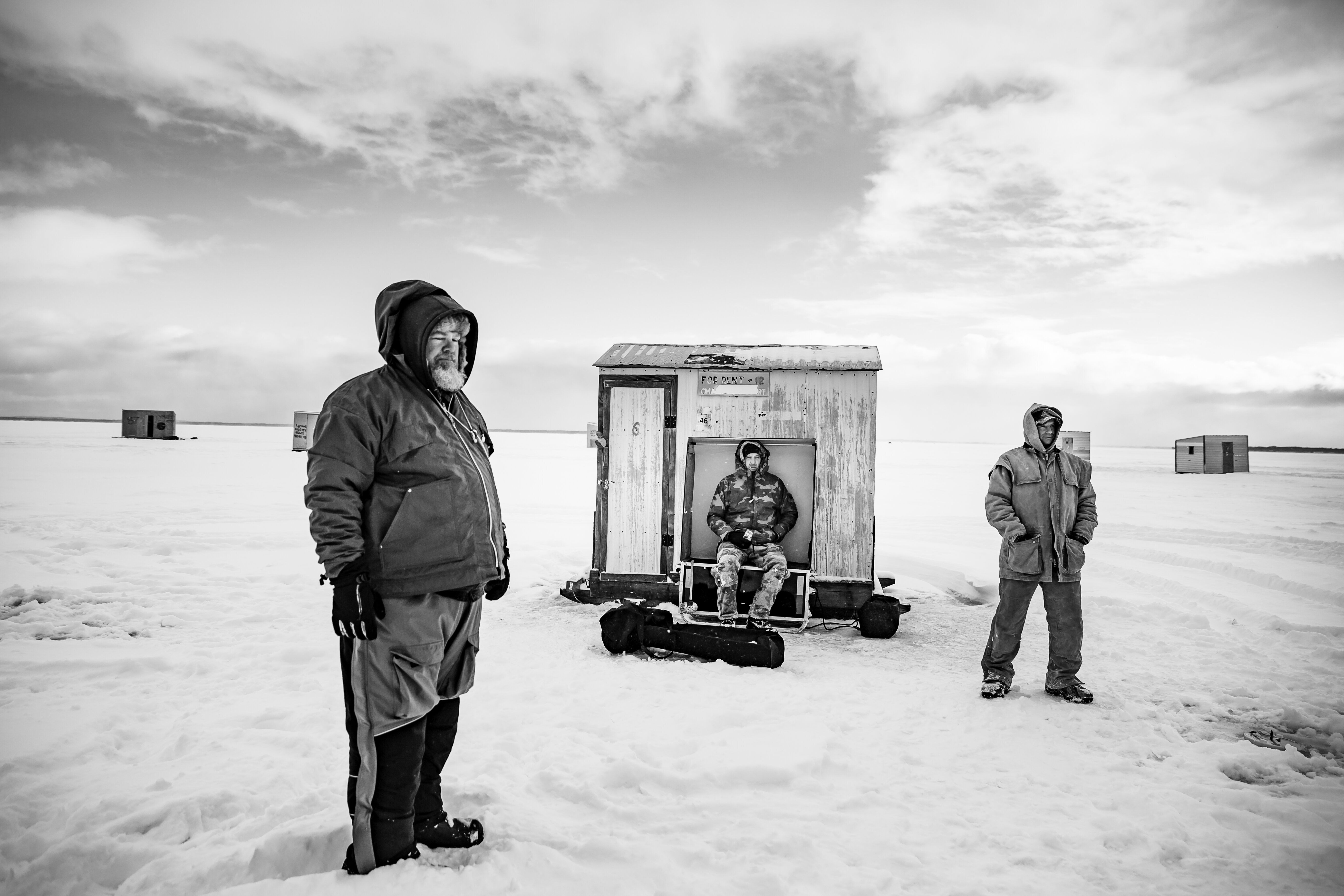 """Mike Joseph and his friends traveled 7.5 hours from Ohio to Houghton Lake in Michigan for ice fishing on Jan. 19. """"We d"""