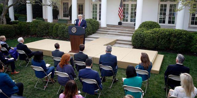 President Donald Trump during the coronavirus task force briefing in the Rose Garden of the White House on Sunday. (AP Photo/Patrick Semansky)