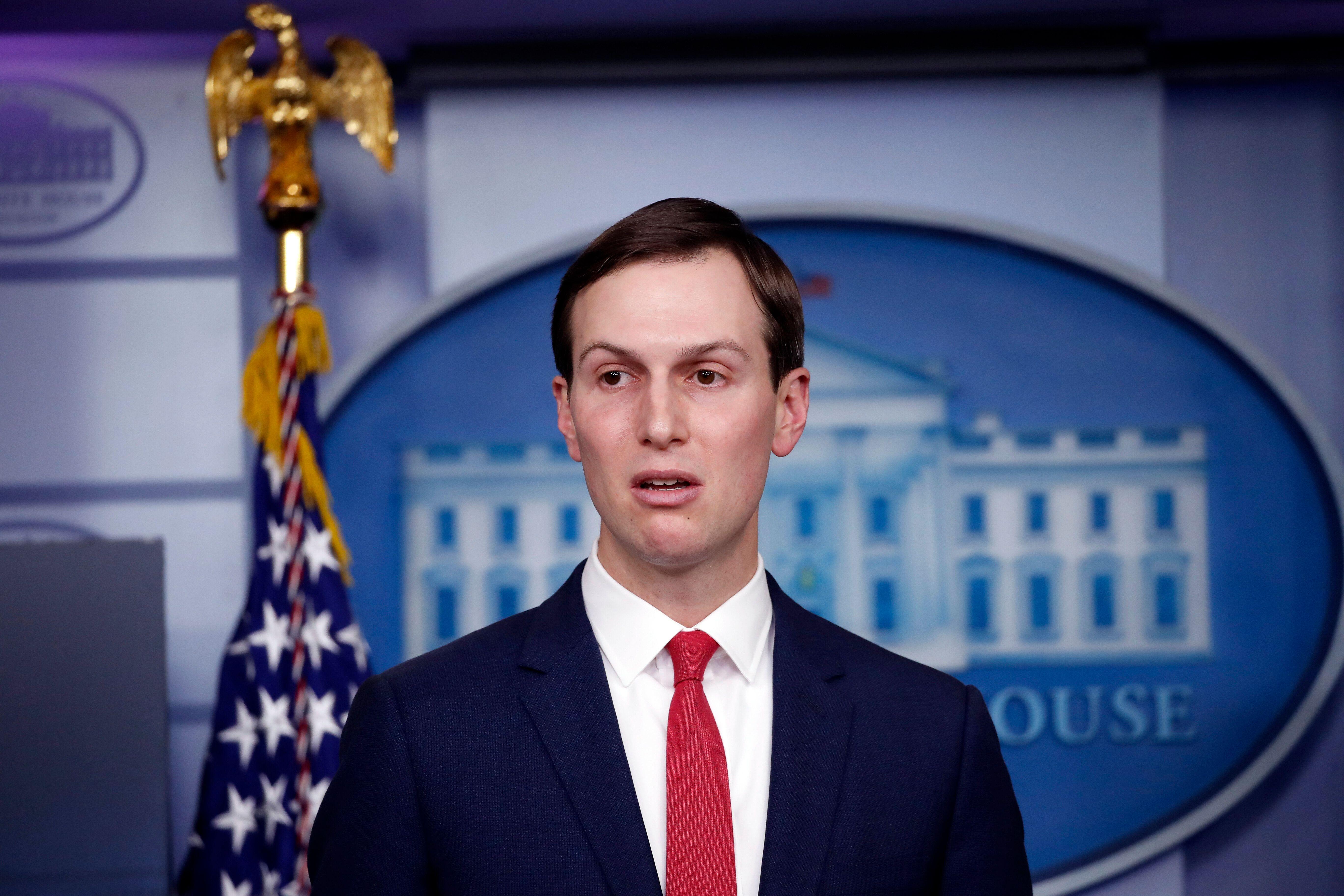 White House adviser Jared Kushner speaks about the coronavirus response at the White House on Thursday.
