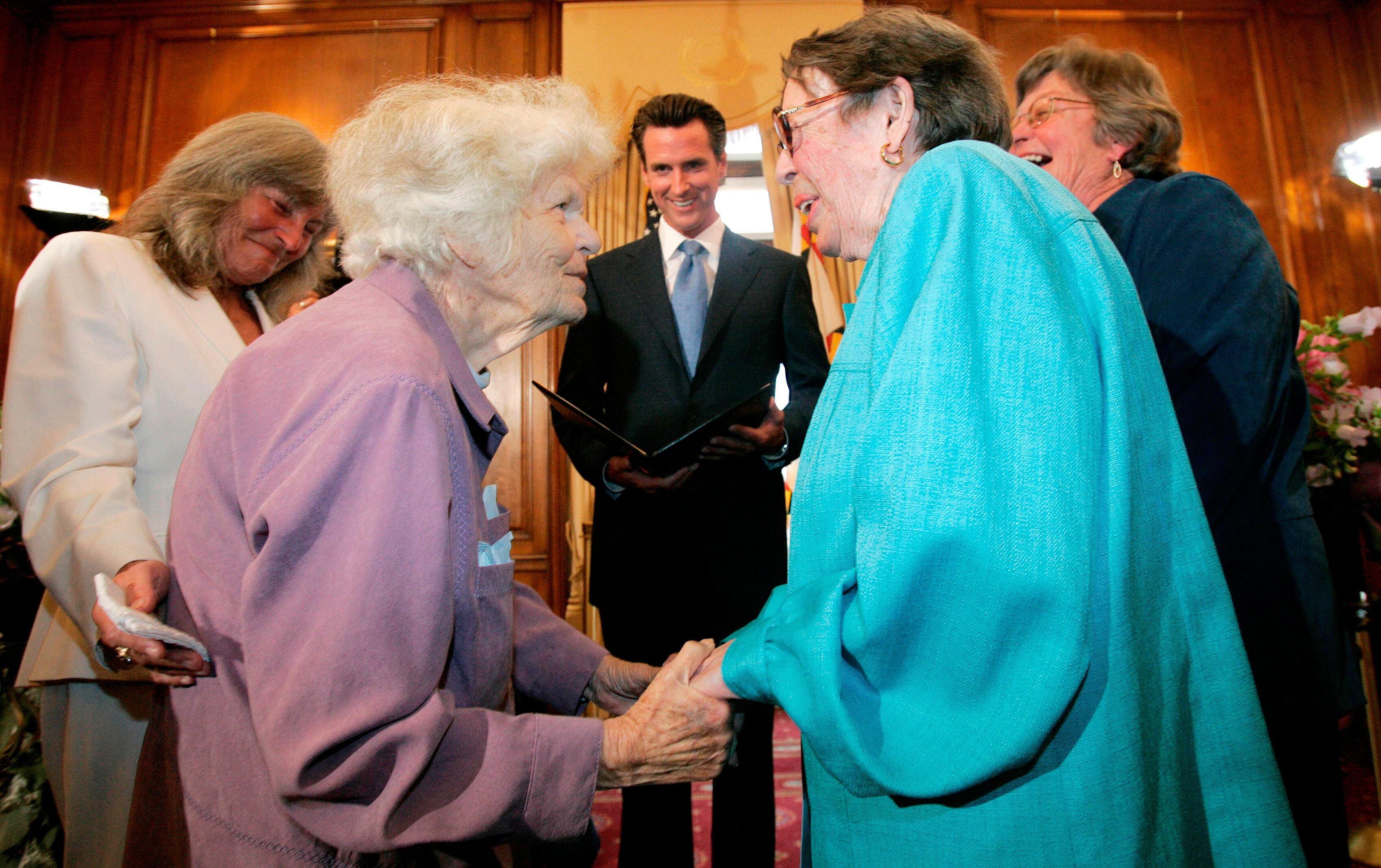 Del Martin, left, and Phyllis Lyon were married by San Francisco Mayor Gavin Newsom at City Hall in San Francisco in 2008.&nb