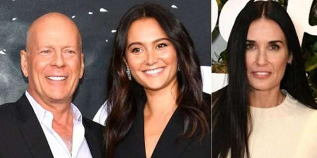 Demi Moore (R) attended ex-husband Bruce Willis (L) and wife Emma Heming's (C) vow renewal.