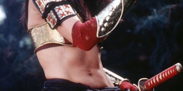 Lucy Lawless as Xena in a scene from the final episode of the TV series 'Xena: Warrior Princess.'