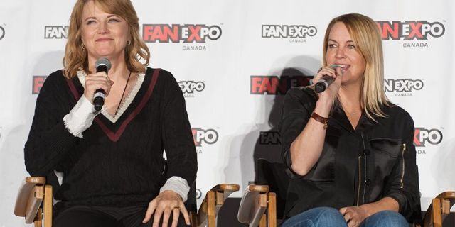 Lucy Lawless (L) and Renee O'Connor attend the 2018 Fan Expo Canada at Metro Toronto Convention Centre on September 2, 2018, in Toronto, Canada.