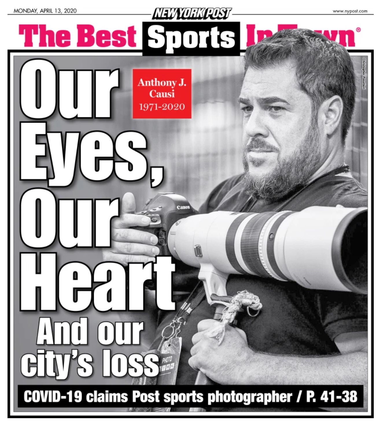 The New York Post honored its long-time sports photographer Anthony Causi, who has died of COVID-19 at the age of 48, with th