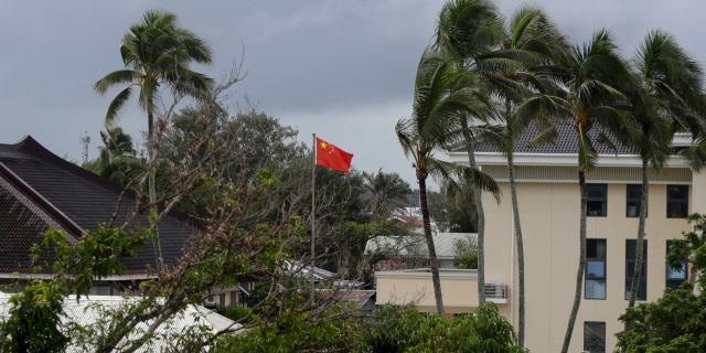 In this April 8, 2019, photo, a Chinese flag flies outside the Chinese Embassy in Nuku'alofa, Tonga.