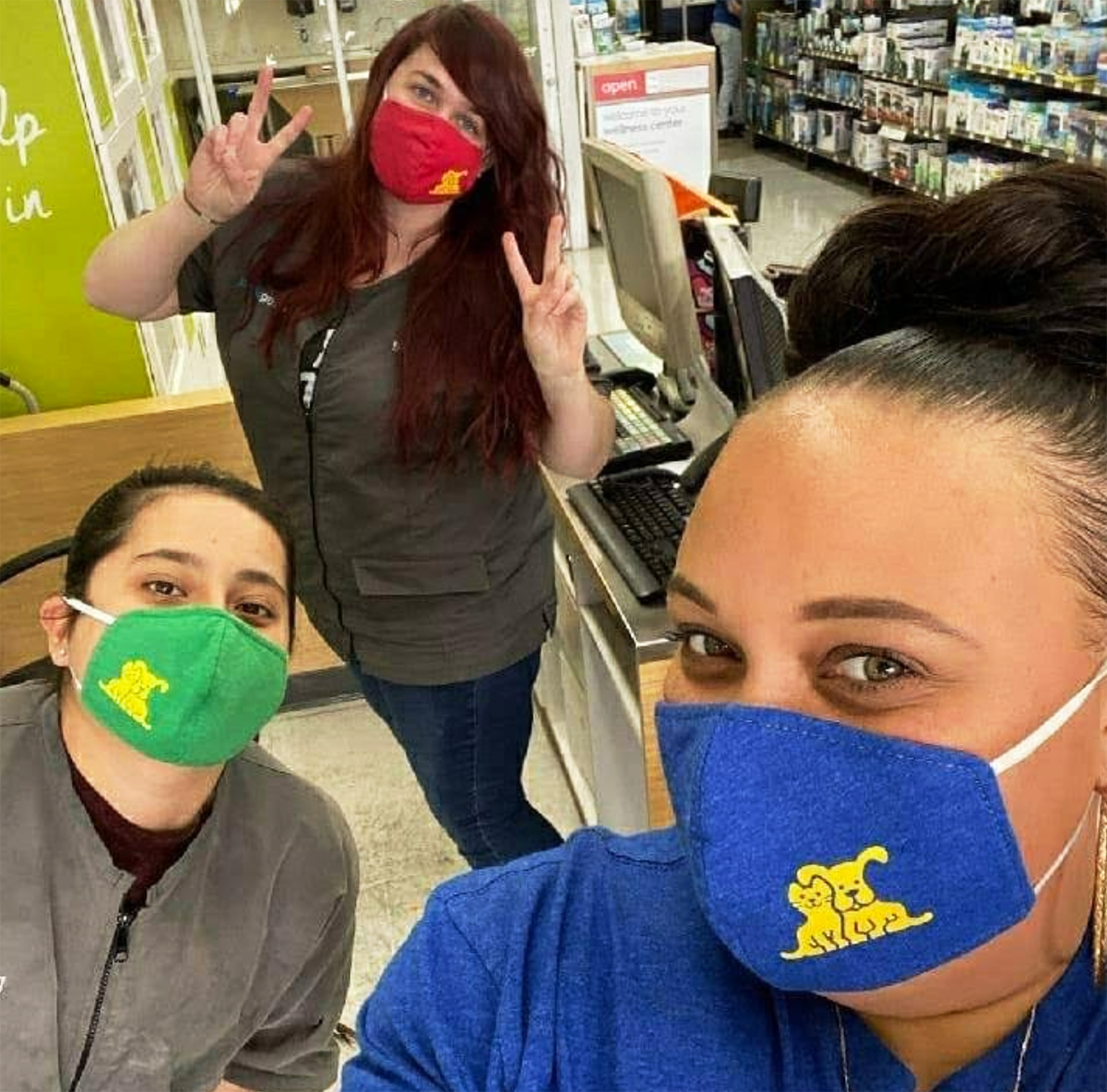 Some Petco employees made masks out of their old uniforms.