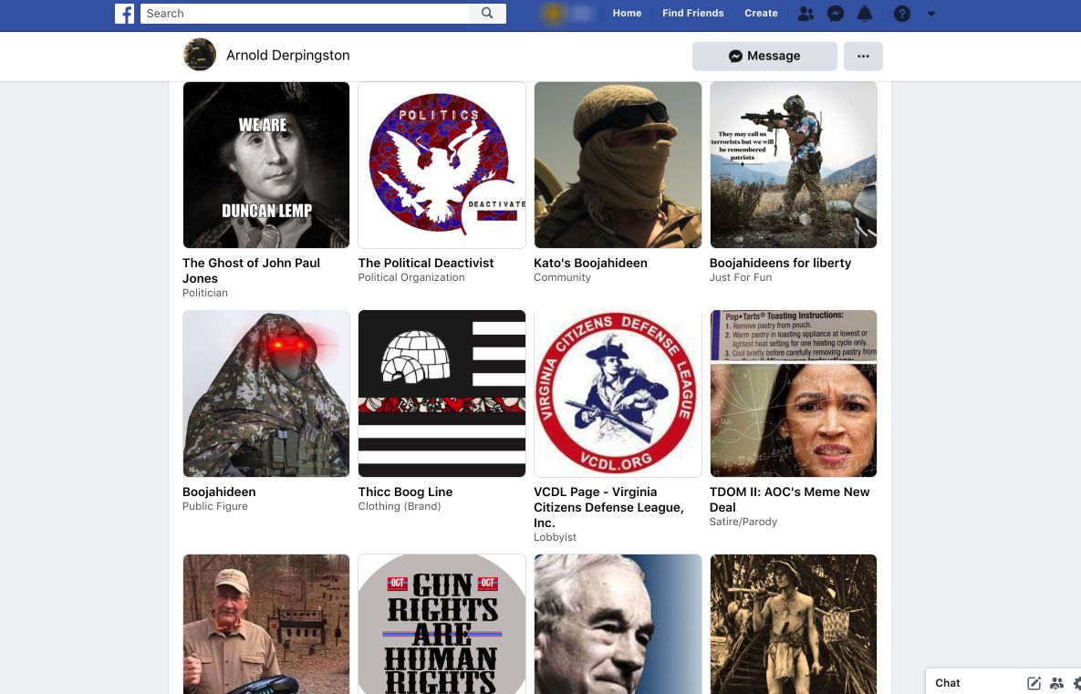 """A series of extremist Facebook pages """"liked"""" by Aaron Swenson, who was arrested for allegedly attempting to attack police off"""