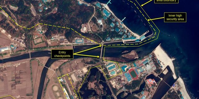 This Wednesday, April 15, 2020, satellite image provided by Airbus Defence & Space and annotated by 38 North, a website specializing in North Korea studies, shows an overview of the Wonsan complex in Wonsan, North Korea. Recent satellite photos show a train probably belonging to North Korean leader Kim Jong Un has been spotted.