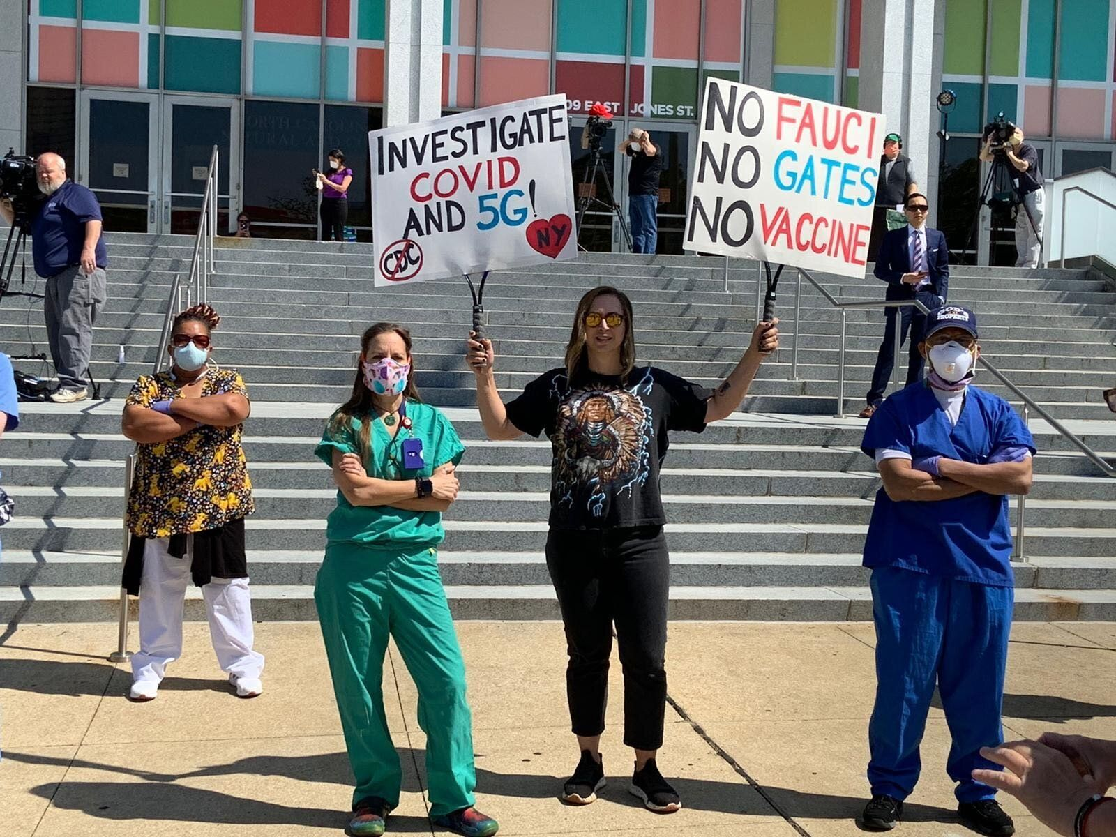 Many of the protesters at the ReOpen NC rally did not wear protective equipment such as masks.