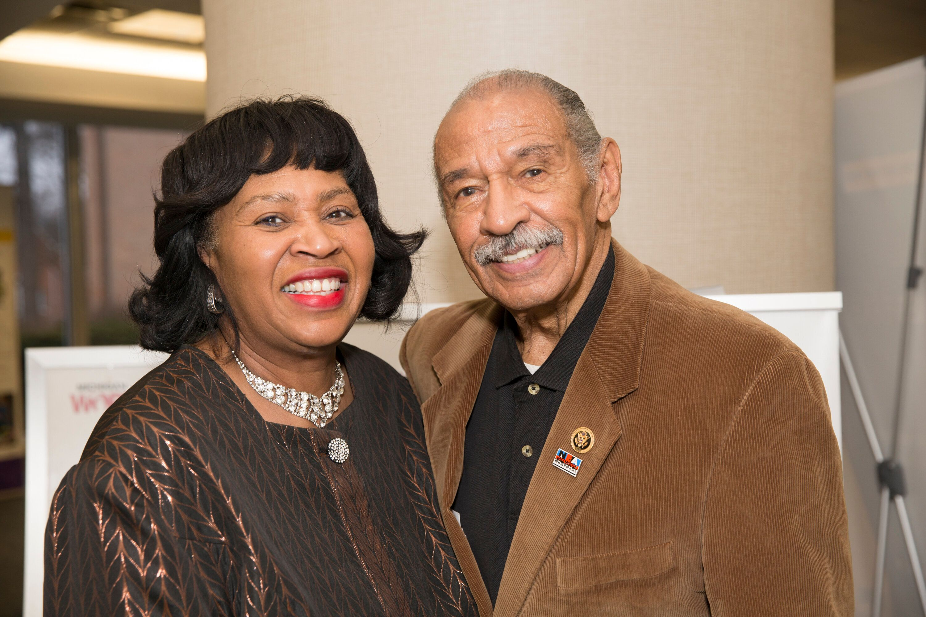 Detroit City Council President Brenda Jones poses with then-Rep. John Conyers Jr. (D-Mich.) in April 2016. Conyers' resignati