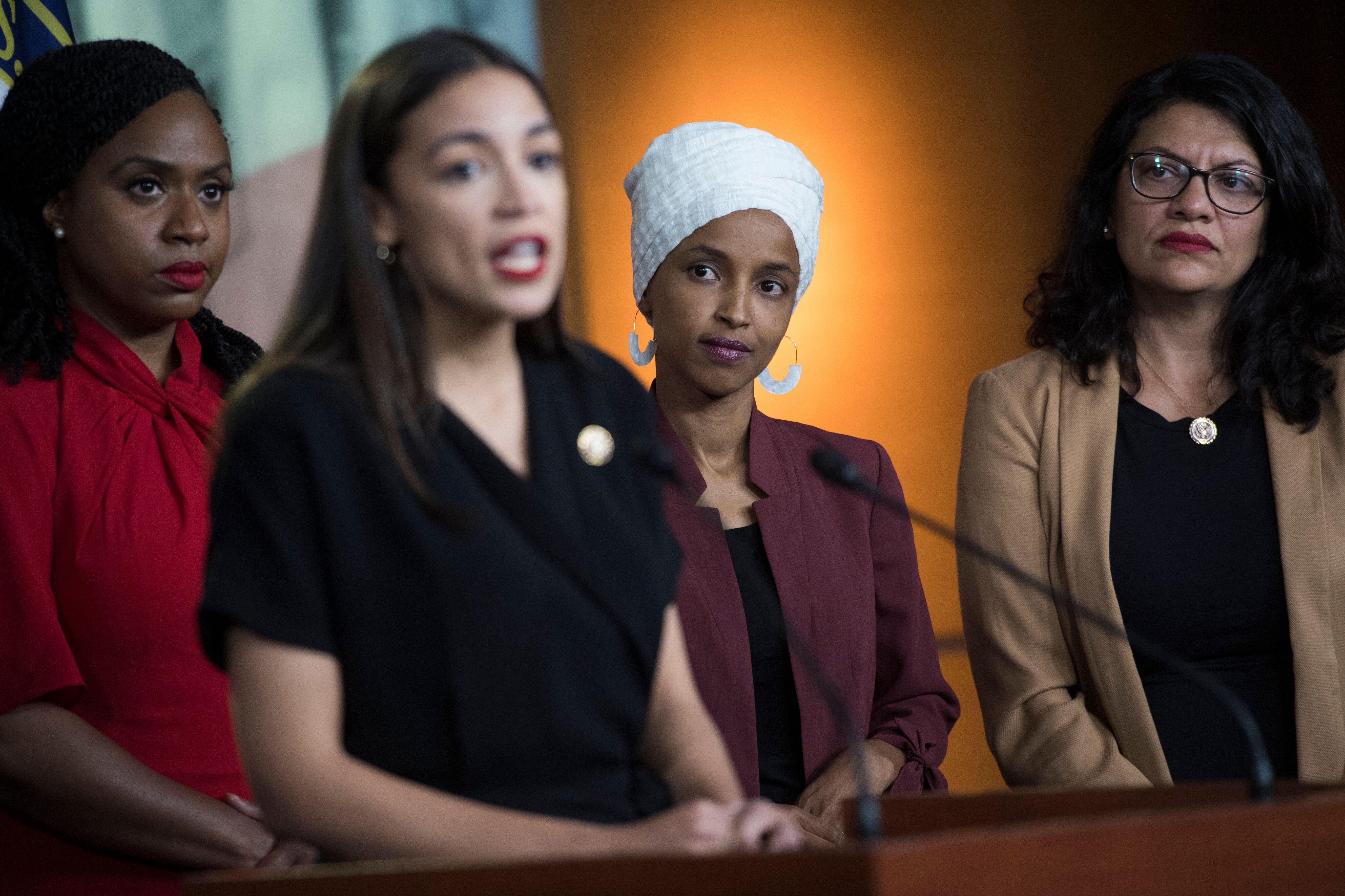 The Squad, from left: Reps. Ayanna Pressley (D-Mass.), Alexandria Ocasio-Cortez (D-N.Y.), Ilhan Omar (D-Minn.) and Tlaib, res