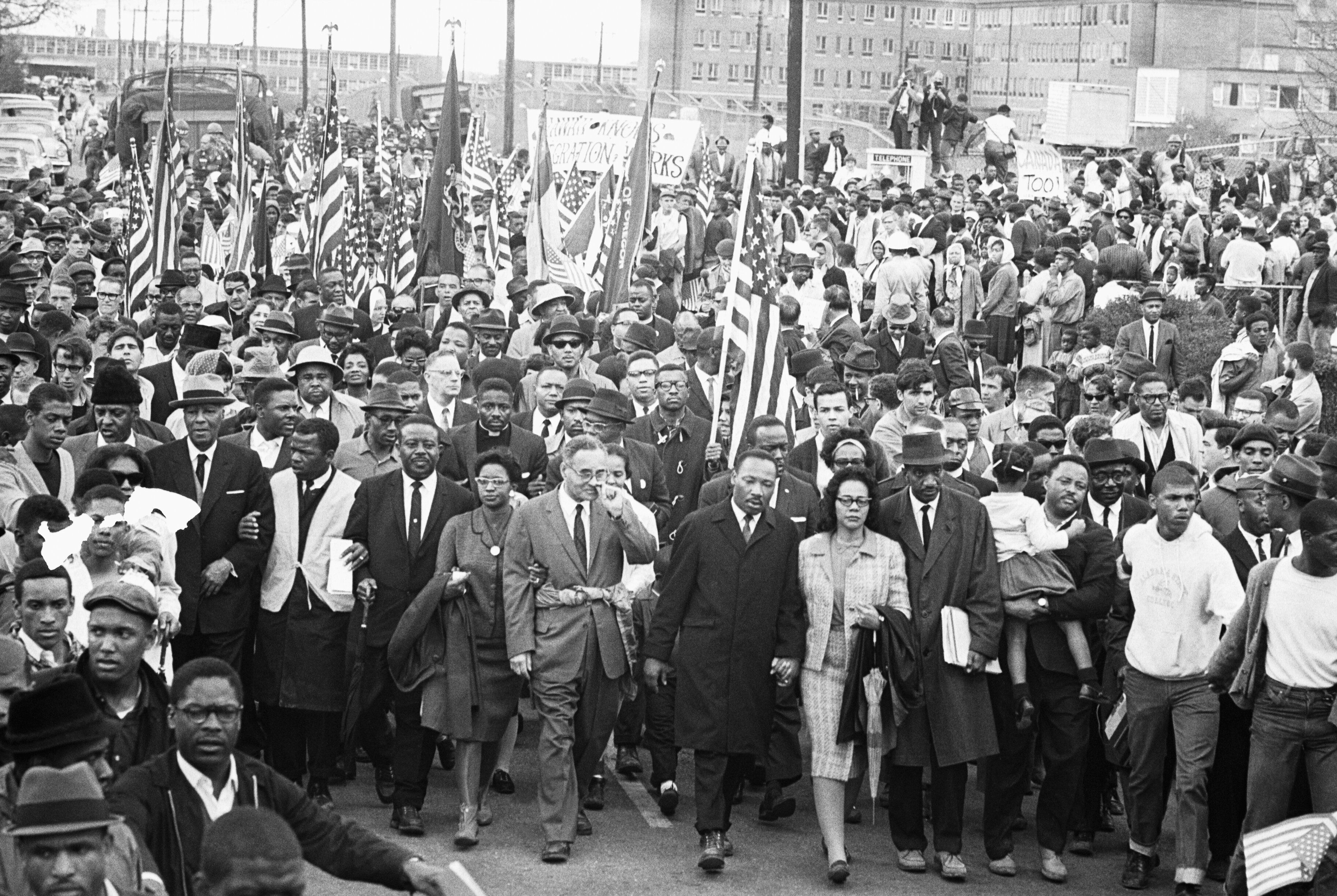 Martin Luther King Jr. with his wife, Coretta, during the Selma-to-Montgomery marches in Alabama in 1965.