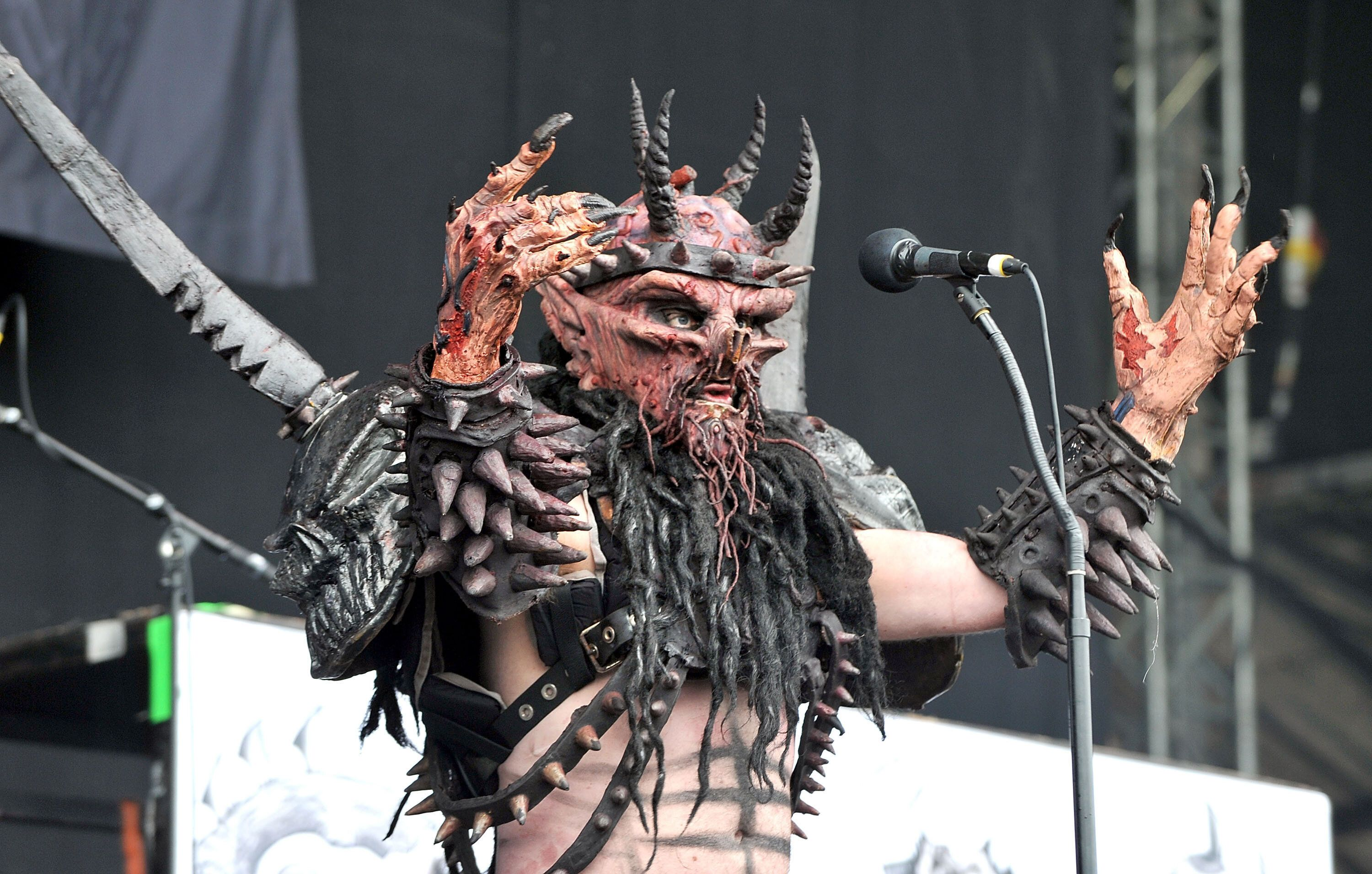 Oderus Urungus of GWAR performed at the Download Festival in, 2011 in Castle Donington, England.