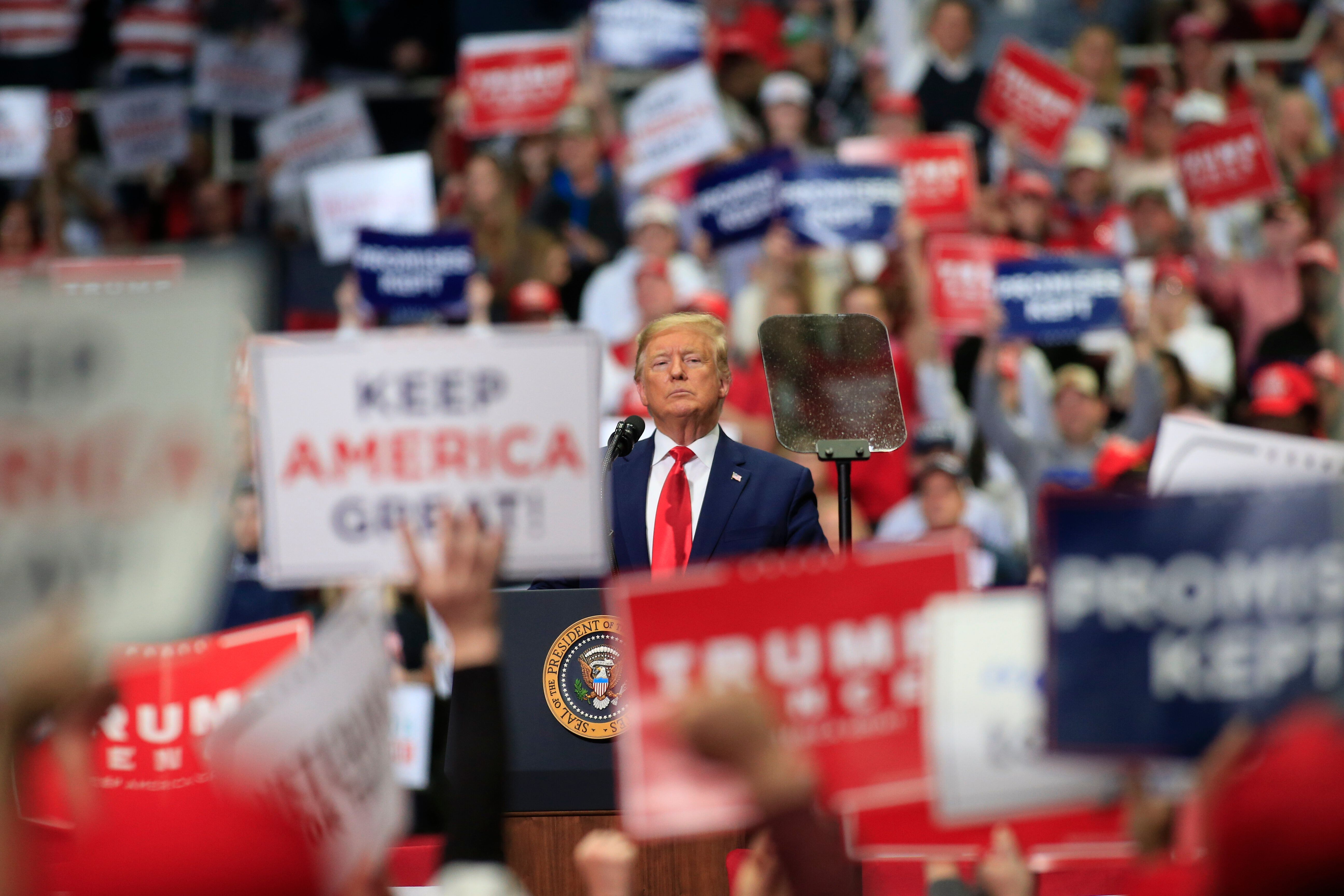 President Donald Trump speaks to supporters during a March 2 rally in Charlotte, North Carolina. His next rally is set for Tu