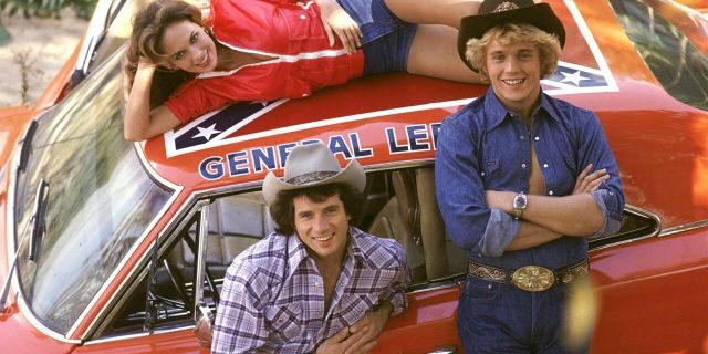 """Catherine Bach as """"Daisy,"""" top, Tom Wopat as """"Luke,"""" bottom left, and John Schneider, right, as """"Bo"""" with The General Lee, from """"The Dukes of Hazzard."""""""