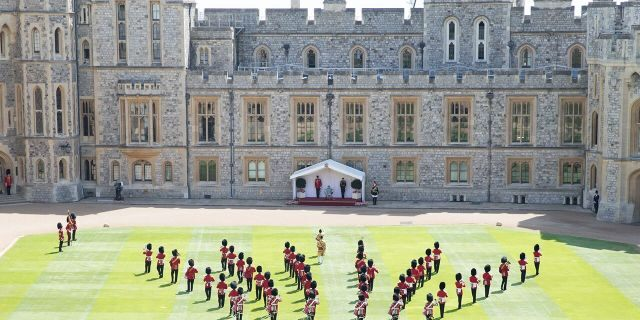 A general view of Trooping The Colour, the Queen's birthday ceremony at Windsor Castle on June 13, 2020 in Windsor, England. In line with Government advice, it was agreed that The Queen's Birthday Parade, also known as Trooping the Colour, would not go ahead in its traditional form.