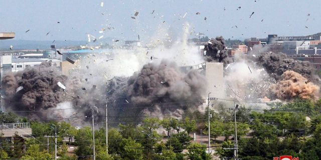 This photo provided by the North Korean government shows the explosion of an inter-Korean liaison office building in Kaesong, North Korea, Tuesday, June 16, 2020. South Korea says that North Korea has exploded the inter-Korean liaison office building just north of the tense Korean border. Independent journalists were not given access to cover the event depicted in this image distributed by the North Korean government. The content of this image is as provided and cannot be independently verified. (Korean Central News Agency/Korea News Service via AP)