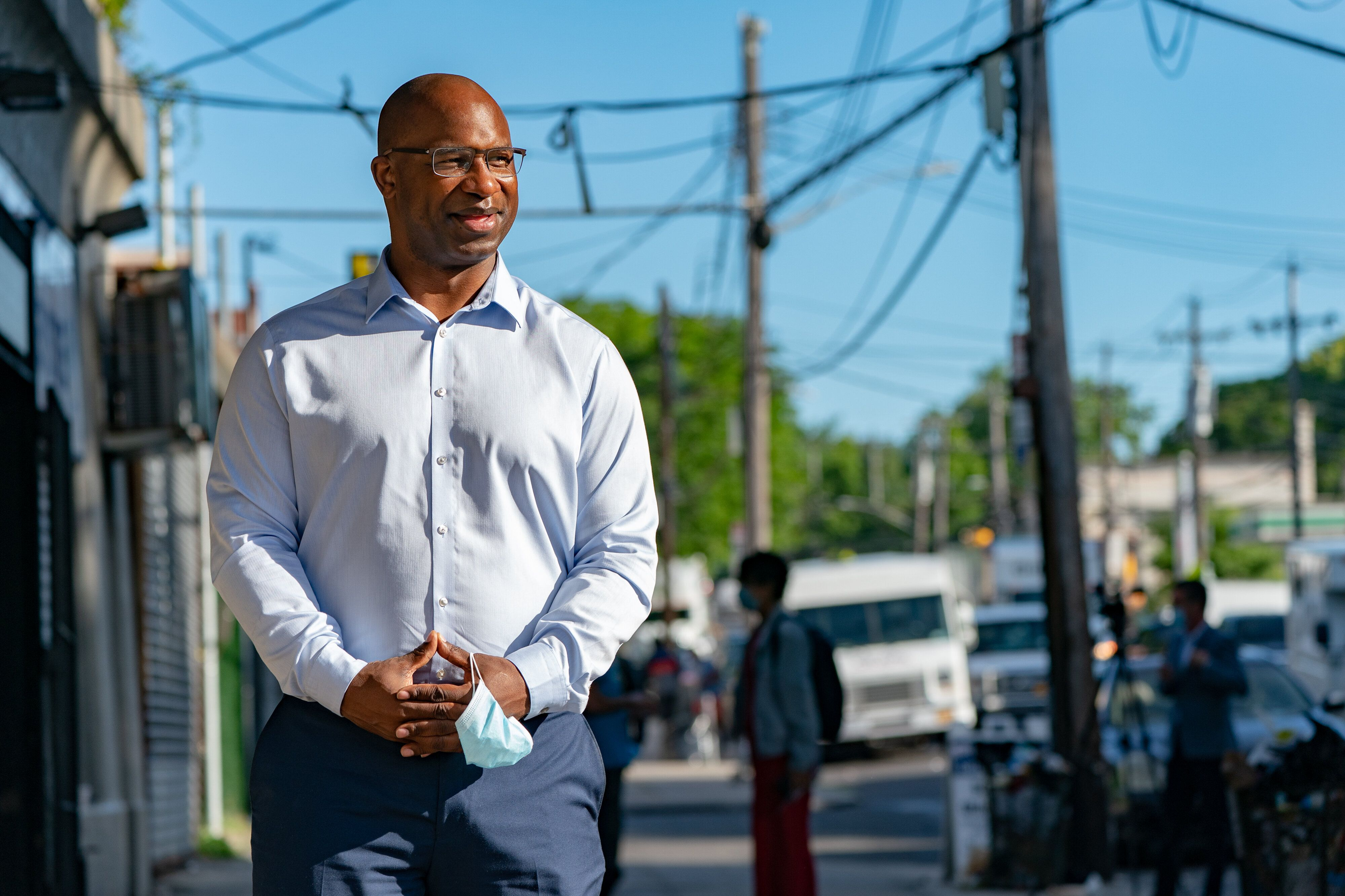 Jamaal Bowman greets voters outside a Bronx subway stop on Wednesday, June 17. He has cast himself as a better representative