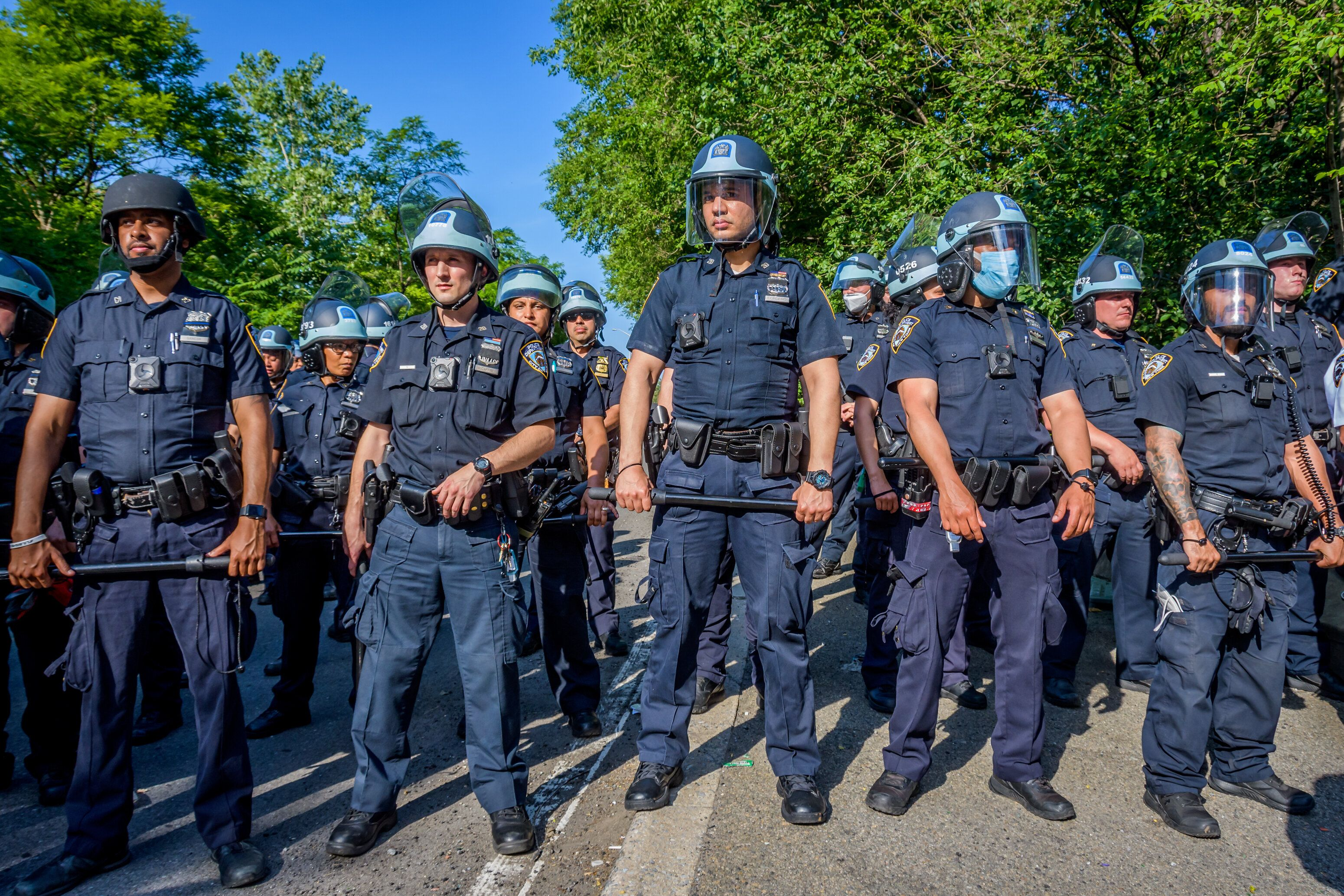 Police at a protest in Brooklyn, New York, earlier this month.