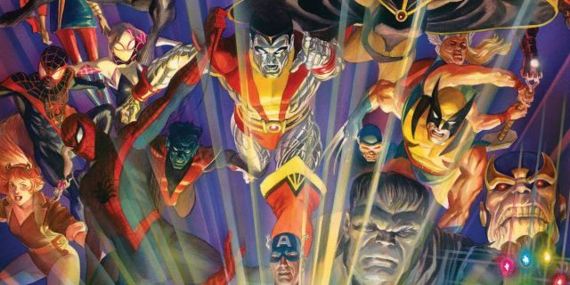 This image provided by Marvel Comics shows the cover of Marvel Comics #1000, the publisher's 80th-anniversary issue. (Alex Ross/Marvel Comics via AP)