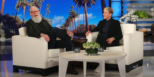 "David Letterman appears with host Ellen DeGeneres during a taping of ""The Ellen DeGeneres Show"" in Los Angeles."