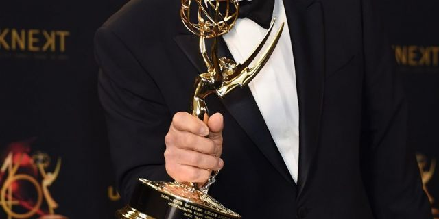 Alex Trebek poses with the Daytime Emmy Award for Outstanding Game Show Host in the press room during the 46th annual Daytime Emmy Awards at Pasadena Civic Center on May 5, 2019 in California.
