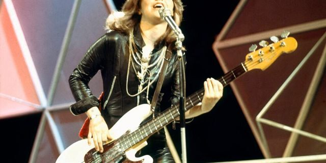Suzi Quatro performs on the UK TV show 'Top of the Pops,' London, October 1974.