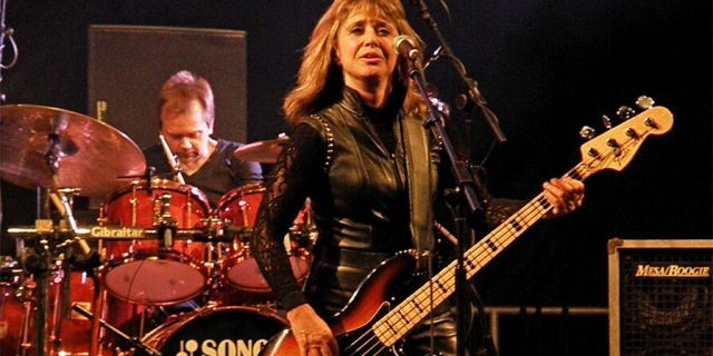 Suzi Quatro performs onstage during the second day of Silverstone Classic 2011 at Silverstone Circuit on July 23, 2011, in Northampton, United Kingdom.