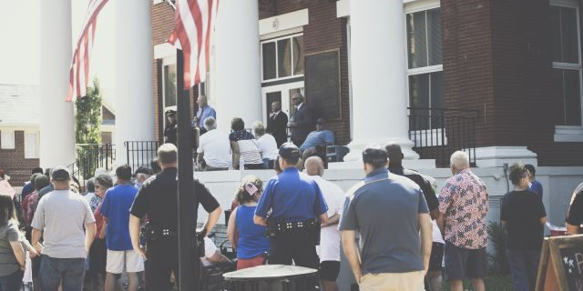 Jonesborough, Tenn., police officers were honored during the Independence Day ceremony at the Washington County Court House on July 4, 2020.