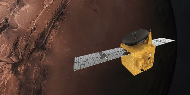 This June 1, 2020, file rendering provided by Mohammed Bin Rashid Space Centre shows the Hope probe.