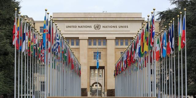 Allee des Nations (Avenue of Nations) of the United Nations Palace in Geneva, with the flags of the member countries.