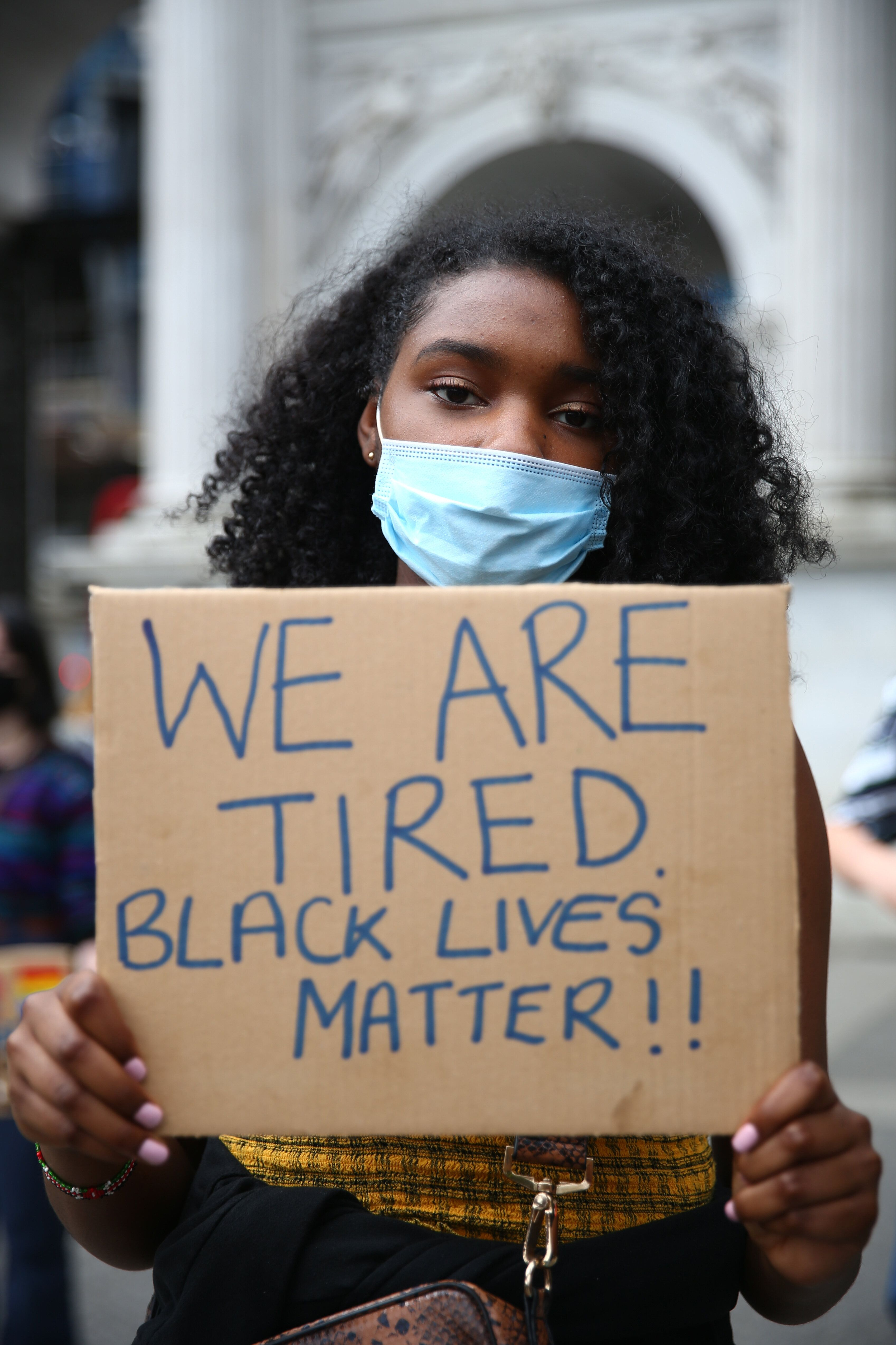 Protesters gather for Black Lives Matter protests in July 2020 in response to the killing of George Floyd.