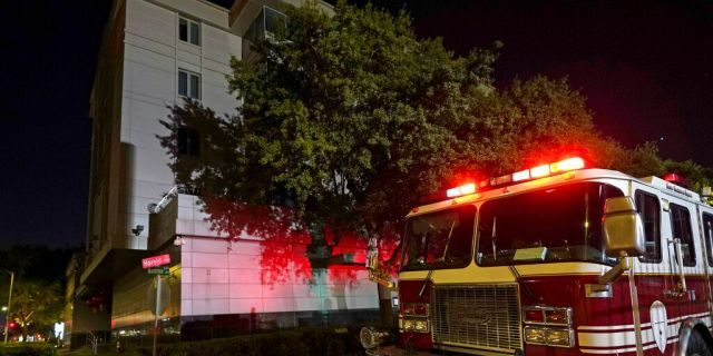 A firetruck outside the Chinese Consulate in Houston on Wednesday. (AP Photo/David J. Phillip)