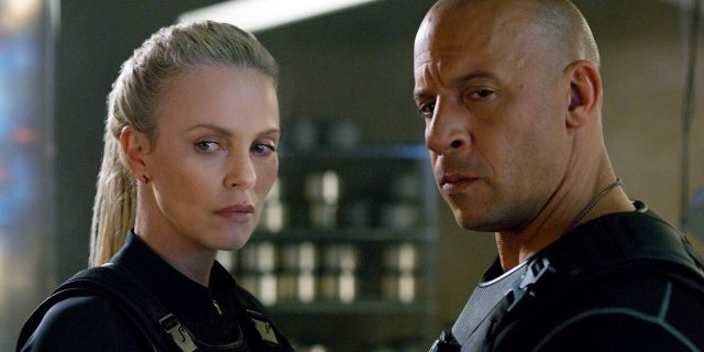 This image released by Universal Pictures shows Charlize Theron, left, and Vin Diesel in 'The Fate of the Furious.' (Universal Pictures via AP)