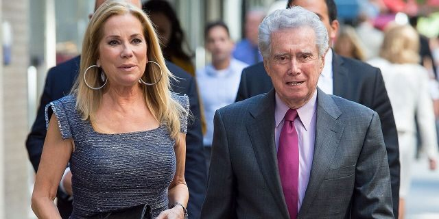 TV personalities Kathy Lee Gifford (L) and Regis Philbin are seen in Midtown on September 23, 2015 in New York City.