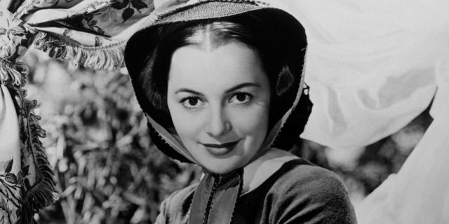"""Actress Olivia de Havilland in a still from """"Gone With the Wind"""" in 1939 in Los Angeles, California. (Photo by Donaldson Collection/Michael Ochs Archives/Getty Images)"""