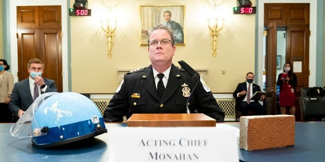 Acting U.S. Park Police Chief Gregory T. Monahan, testifies before a House Natural Resources Committee hearing on actions taken on June 1, 2020 at Lafayette Square, Tuesday, July 28, 2020 on Capitol Hill in Washington. (Bill Clark/Pool via AP)