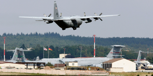 In this 2015 file photo, an airplane lands at the US Air Base in Ramstein, Germany. (Ronald Wittek/dpa via AP)