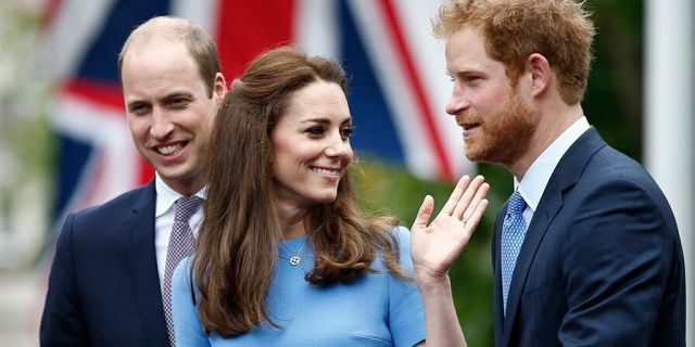 Prince William (left), Kate Middleton and Prince Harry.