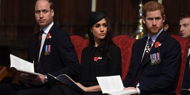 Prince William, Duke of Cambridge, Meghan Markle and Prince Harry attend an Anzac Day service at Westminster Abbey on April 25, 2018, in London, England.