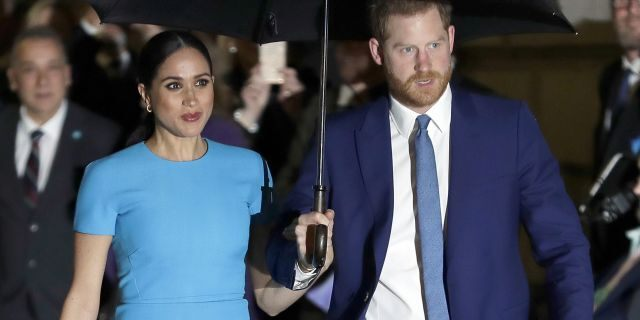 Prince Harry and Meghan, the Duke and Duchess of Sussex arrive at the annual Endeavour Fund Awards in London on March 5, 2020.