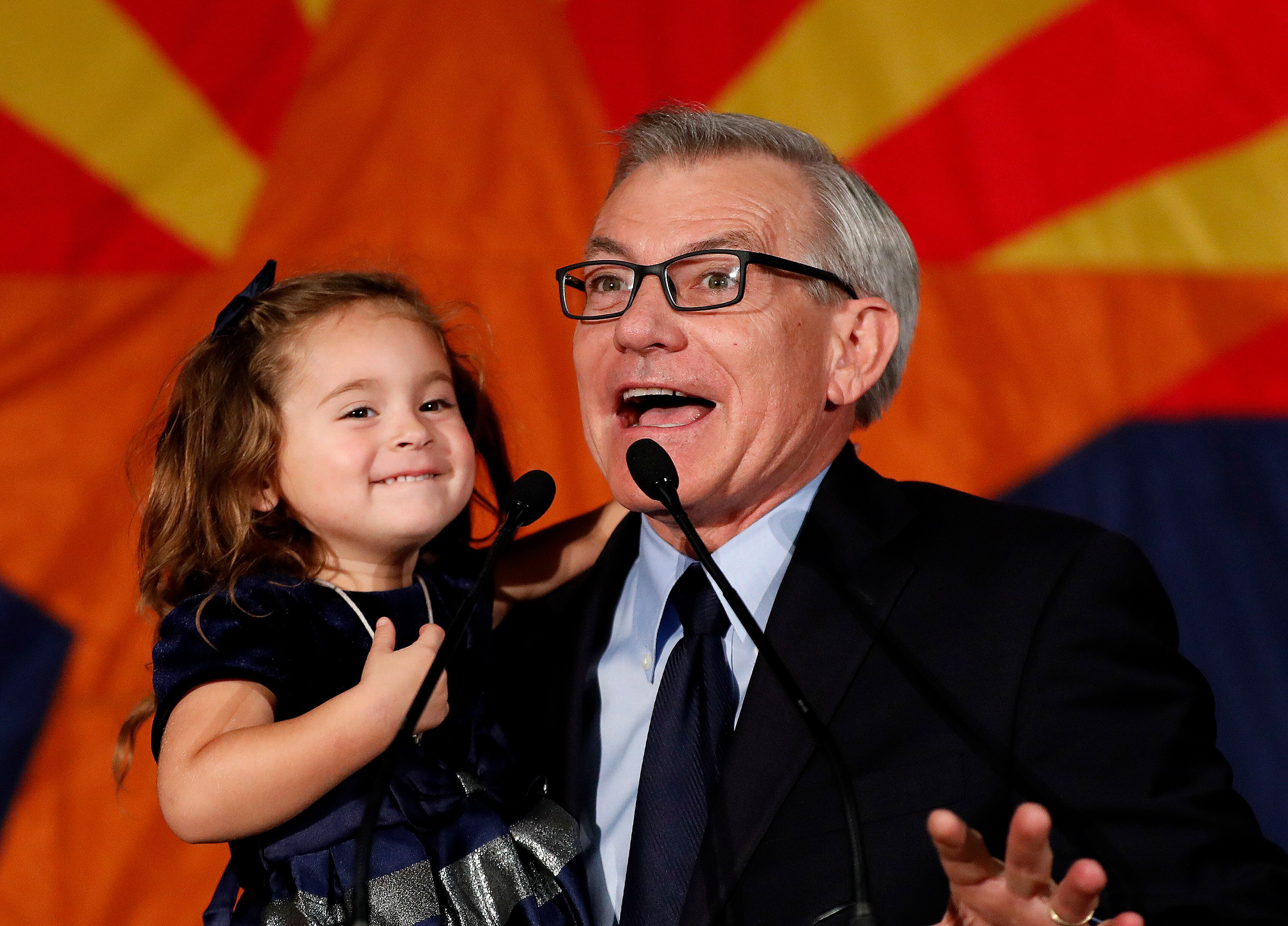 Rep. David Schweikert (R-Ariz.), with his daughter Olivia, speaking to supporters on election night in 2018. Democrats, who h
