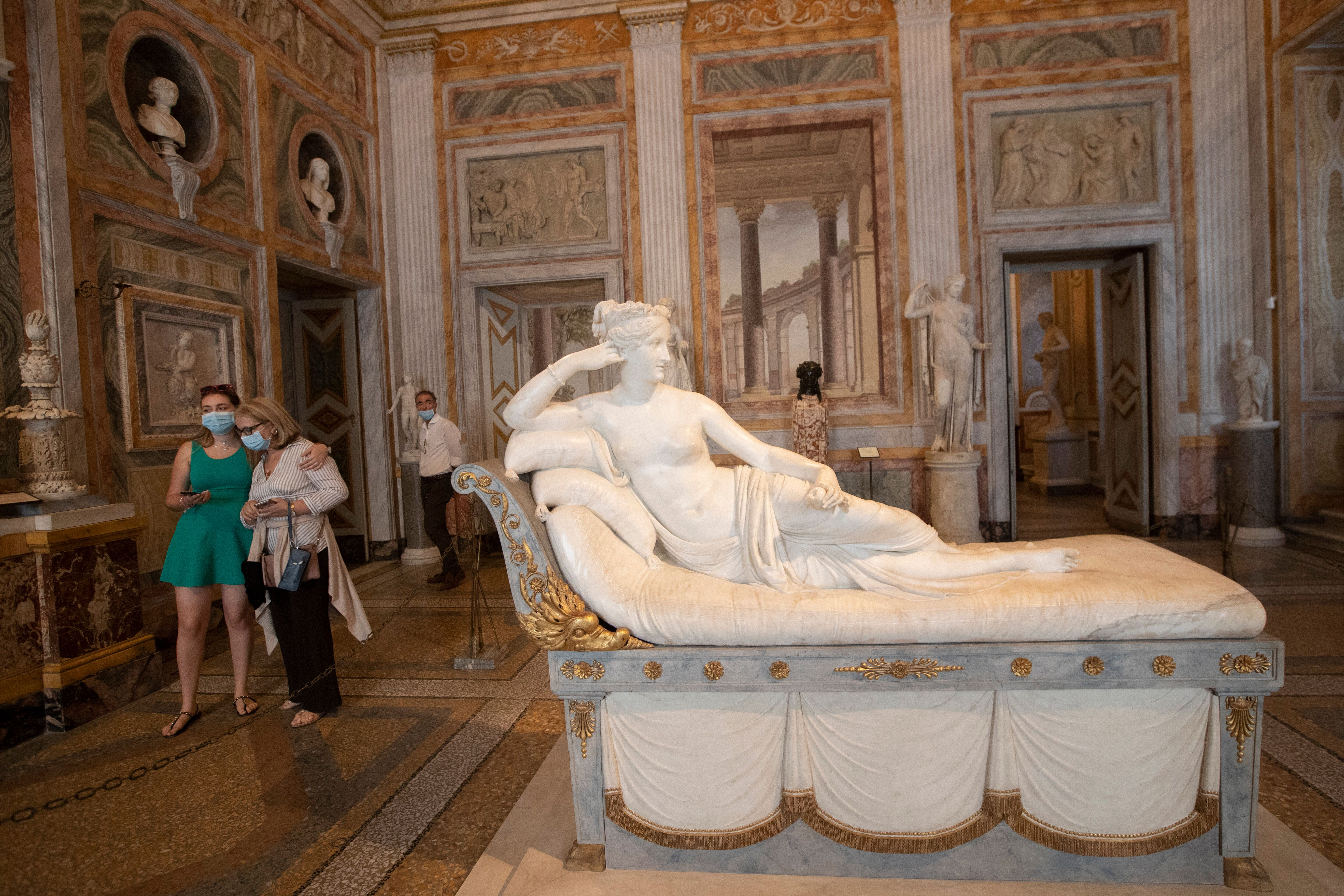 The marble version of the statue, which sits in the Galleria Borghese in Rome.