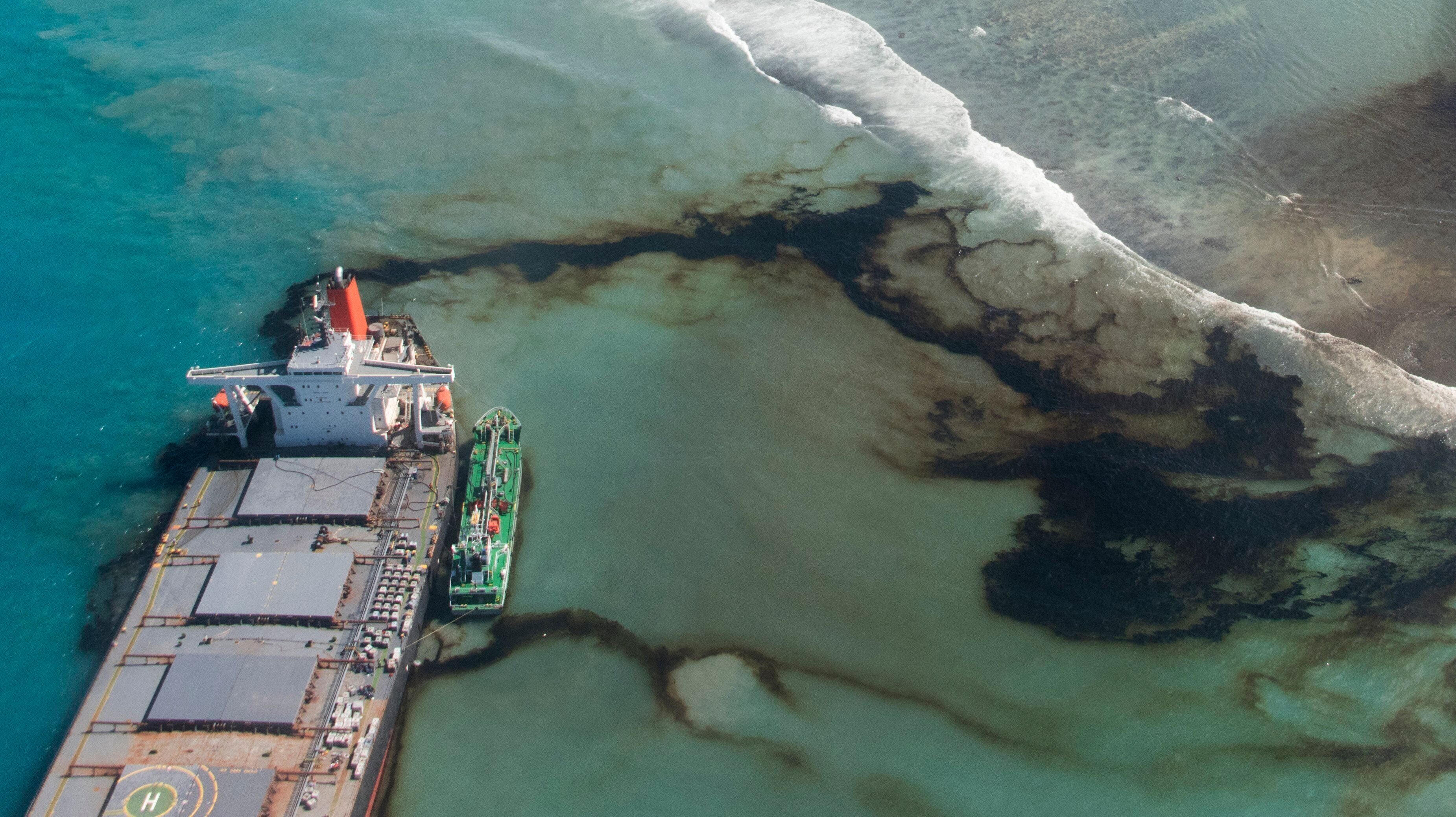 Oil leaks from the MV Wakashio, a bulk carrier ship that ran aground off the southeast coast of Mauritius.