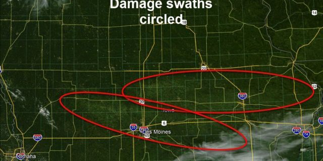 Damage swaths from the derecho seen across Iowa on Tuesday, Aug. 11, 2020.